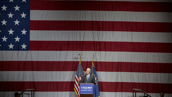 Indiana Gov. Mike Pence introduces Republican presidential candidate Donald Trump earlier this month.