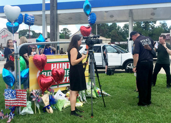 The site of the shootings of Baton Rouge police officers opened on Monday.