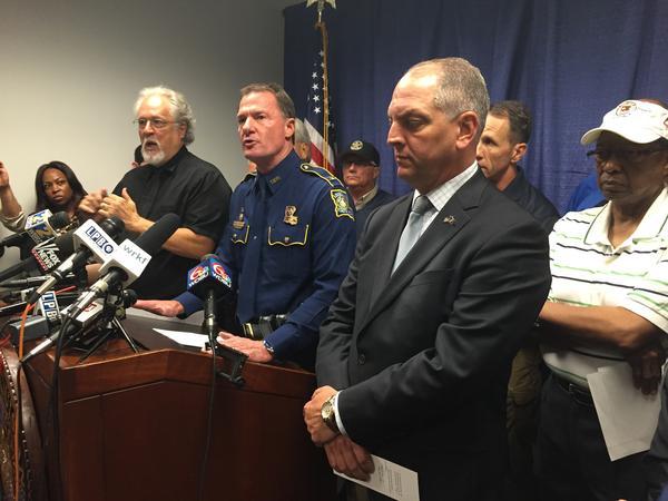 Louisiana State Police Superintendent Mike Edmonson, along with Gov. John Bel Edwards and Baton Rouge Mayor-President Kip Holden, update the media Sunday afternoon.