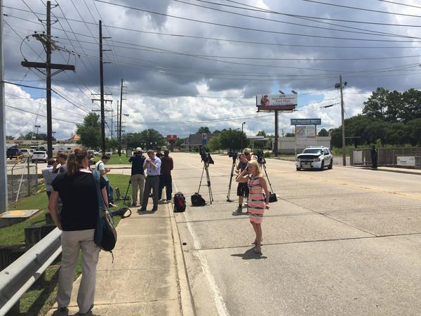 A media staging area near the site of today's shootings in Baton Rouge.