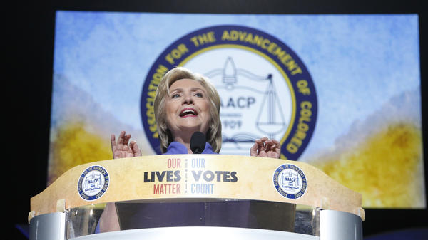 Democratic presidential candidate Hillary Clinton speaks at the NAACP National Convention in Cincinnati, Ohio on July 18, 2016.