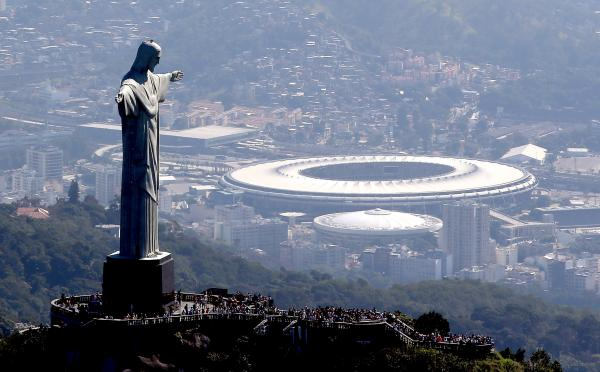 The Christ the Redeemer statue stands above Maracana Stadium, the centerpiece of the 2016 Olympic Games in Rio de Janeiro that begin on Aug. 5.