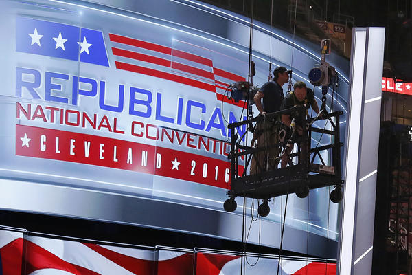 Preparations take place inside Quicken Loans Arena for the Republican National Convention in Cleveland, Ohio.
