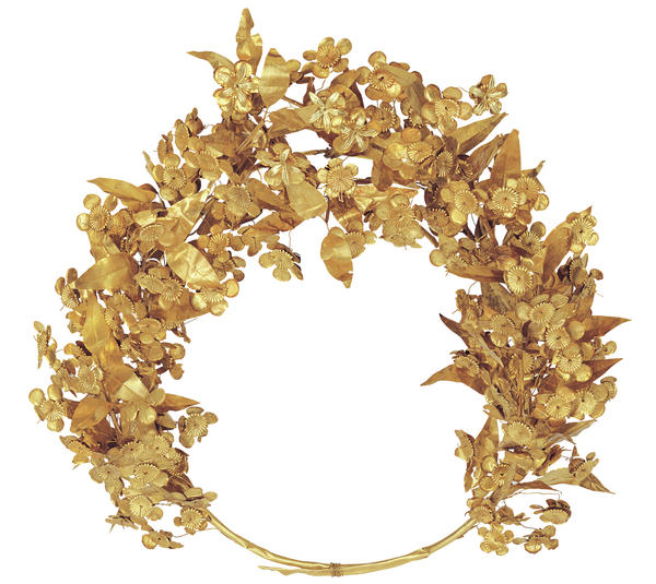 A gold flower-and-myrtle-leaf wreath, thought to have belonged to one of Alexander the Great's stepmothers, is now on display at the National Geographic Museum.