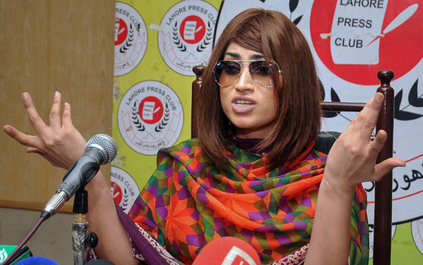 Qandeel Baloch at a press conference in Lahore, Pakistan, in June.