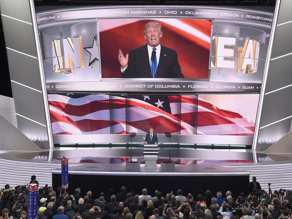 Republican presidential candidate Donald Trump introduces his wife, Melania, to delegates Monday night at the Republican National Convention in Cleveland. Trump formally received the nomination Tuesday in a roll call vote of the state delegations.