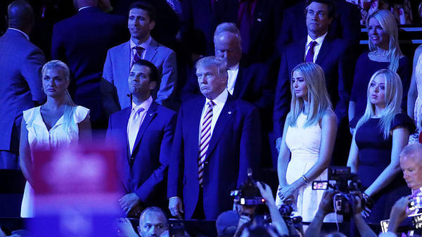 Vanessa Trump (from left), Donald Trump Jr., Republican presidential candidate Donald Trump, Ivanka Trump and Tiffany Trump stand following Sen. Ted Cruz's speech during the third day of the Republican National Convention.