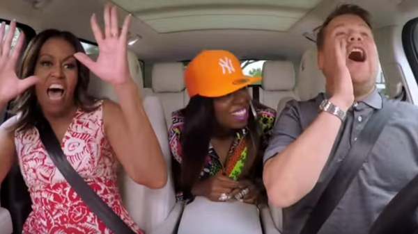 First lady Michelle Obama sings with rapper Missy Elliott and <em>Late Late Show</em> host James Corden.