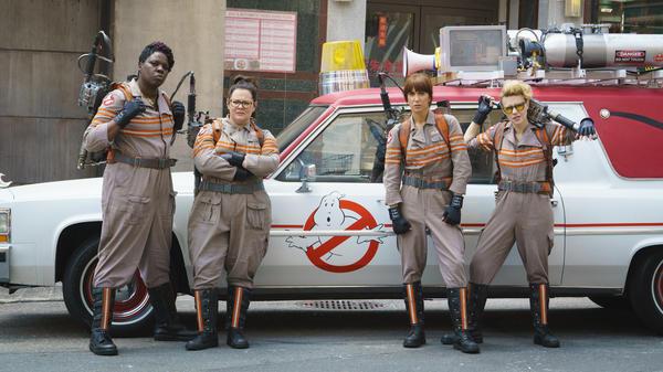 Patty Tolan (Leslie Jones), Abby Yates (Melissa McCarthy), Erin Gilbert (Kristen Wiig) and Jillian Holtzmann (Kate McKinnon) are the Ghostbusters.