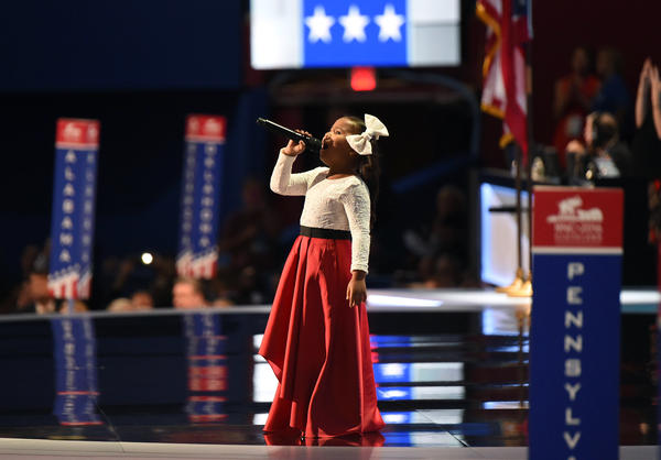 "Six-year-old Heavenly Joy sings ""America the Beautiful"" to open the final night of the Republican National Convention."
