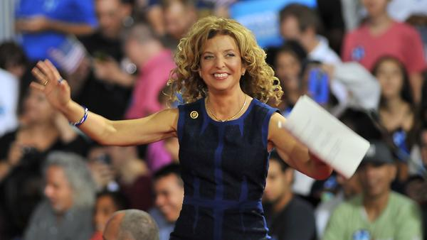 Soon-to-be-former Democratic National Committee Chair Debbie Wasserman Schultz of Florida arrives onstage during a campaign rally for Hillary Clinton and Tim Kaine in Miami on Saturday.