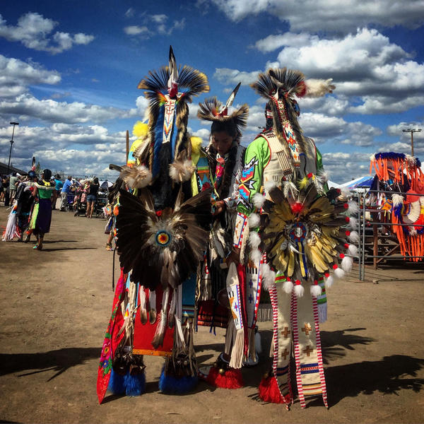 There are a number of categories dancers compete in to show off their talent. These young men are waiting to be called for the chicken dance, which emulates the prairie chicken.