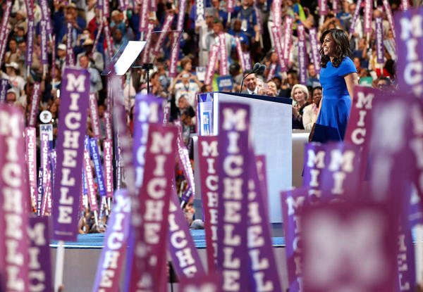 First lady Michelle Obama delivers remarks on Monday evening.