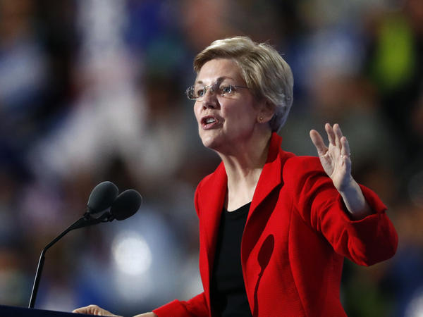 Sen. Elizabeth Warren, D-Mass., speaks during the first day of the Democratic National Convention in Philadelphia on Monday. Even the icons of the party's progressive wing — Warren and candidate Bernie Sanders — were subjected to jeers, catcalls and chants from an element of the audience.