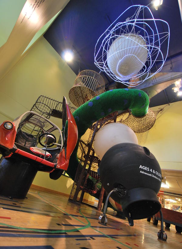 "The Hodge Podge Mahal at the <a href=""http://madisonchildrensmuseum.org/exhibits/possible-opolis/"">Madison Children's Museum</a> in Madison, Wis."