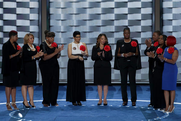 Mothers of the Movement (from left) Maria Hamilton, Annette Nance-Holt, Gwen Carr, Geneva Reed-Veal, Lucia McBath, Sybrina Fulton, Cleopatra Pendleton-Cowley, Wanda Johnson and Lezley Mc Spadden take the stage on the second evening of the Democratic National Convention.