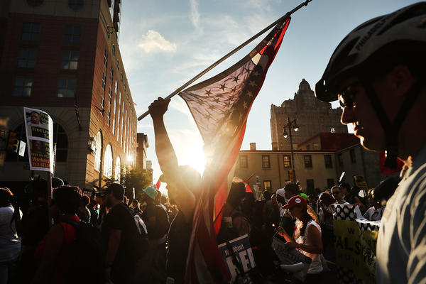 Black Lives Matter protesters march through downtown Philadelphia during the Democratic National Convention on Tuesday.