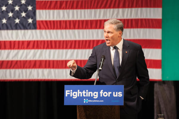 <p>Washington Gov. Jay Inslee endorses Hillary Clinton. Former President Bill Clinton rallied for Hillary at Clark College in Vancouver, Washington, on March 21, 2016.</p>