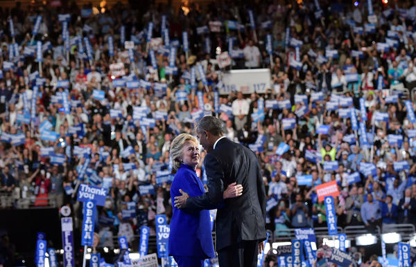 Hillary Clinton joins President Obama after his address at the Democratic National Convention.