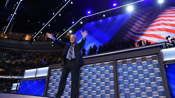 Democratic presidential candidate Tim Kaine salutes the crowd after his address at the Democratic National Convention Wednesday night.