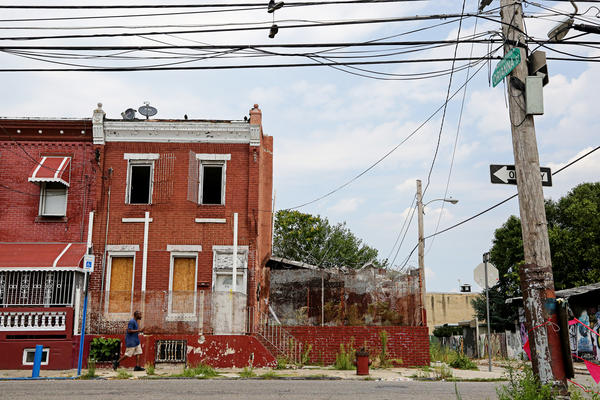 Boarded-up buildings and empty lots dot the Kensington neighborhood, which was once a manufacturing hub of Philadelphia.