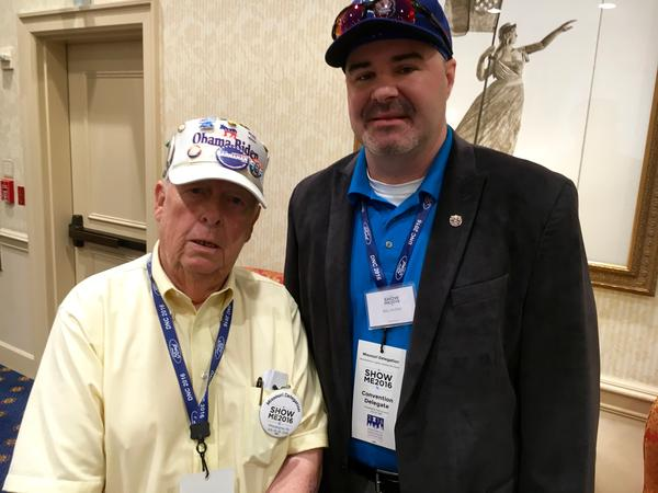 Iron County resident Ralph Trask and Raymore resident Billy Moffett pose for a picture on Monday in Philadelphia. Both men supported Bernie Sanders' presidential campaign.