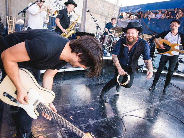 During Nathaniel Rateliff and the Night Sweats' set, Rateliff and special guest Matthew Logan Vasquez of Delta Spirit engaged in a friendly dance-off...
