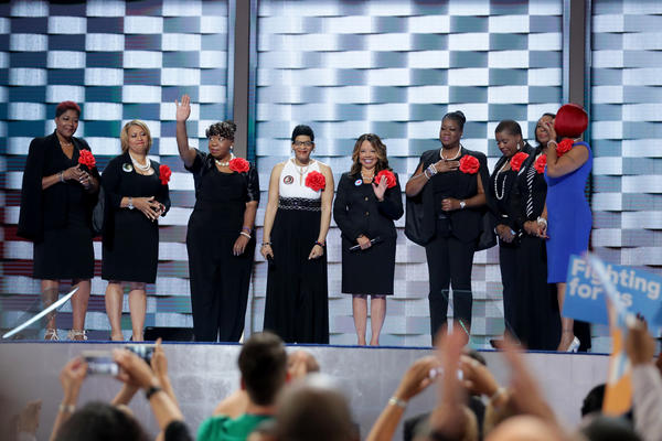 Mothers of the Movement (from left) Maria Hamilton, Annette Nance-Holt, Gwen Carr, Geneva Reed-Veal, Lucia McBath, Sybrina Fulton, Cleopatra Pendleton-Cowley, Wanda Johnson and Lezley McSpadden.