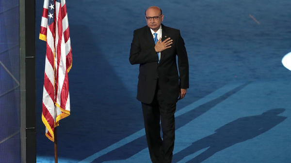 Khizr Khan walks offstage on the last day of the Democratic National Convention in Philadelphia.