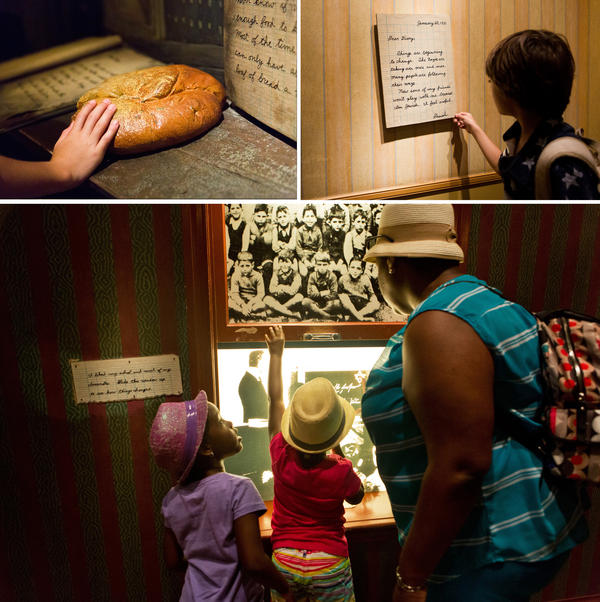 (Top left) A loaf of bread that Daniel's family ate for their meals while they lived in the ghetto. (Top right) Aiden reads one of Daniel's diary entries. Twin sisters Nicolette and Victoria Dejour, 6, look through a window displaying scenes of Germany with their mother Royanne in the children's exhibit at the Holocaust Museum in Washington D.C.