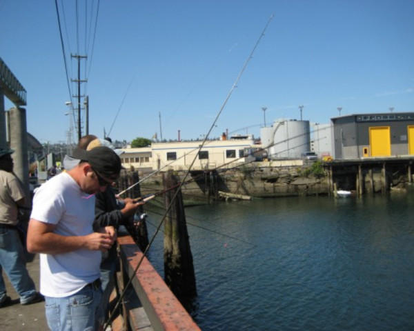 <p>Fishing along Seattle's Duwamish River, where pollution is a considerable problem.</p>