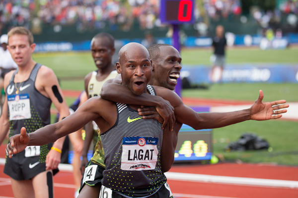 Ex-WSU standout Bernard Lagat gets a hug from third place finisher Paul Chelimo, who is based in Beaverton. Both qualified for the Summer Olympics in the 5000 meters.