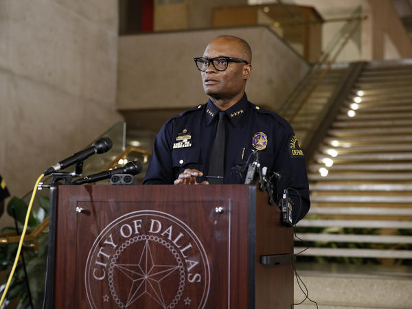Police Chief David Brown briefs the media about a shooting at Dallas Police headquarters on June 13, 2015.
