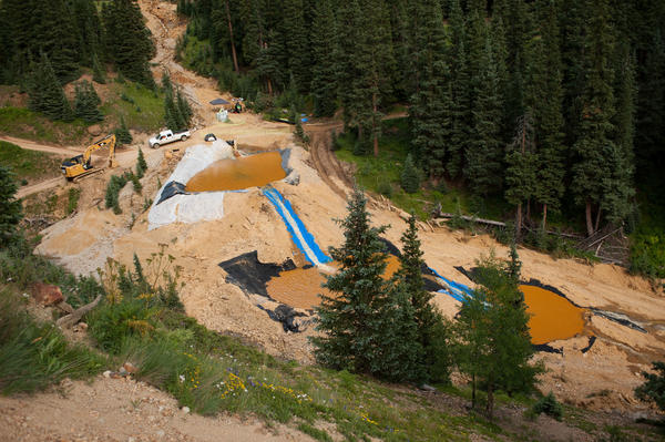 Three settling ponds are used at Cement Creek, which was flooded with millions of gallons of mining wastewater, on Aug. 11, 2015. The Environmental Protection Agency uses settling ponds to reduce the acidity of mining wastewater so that it carries fewer heavy metals.