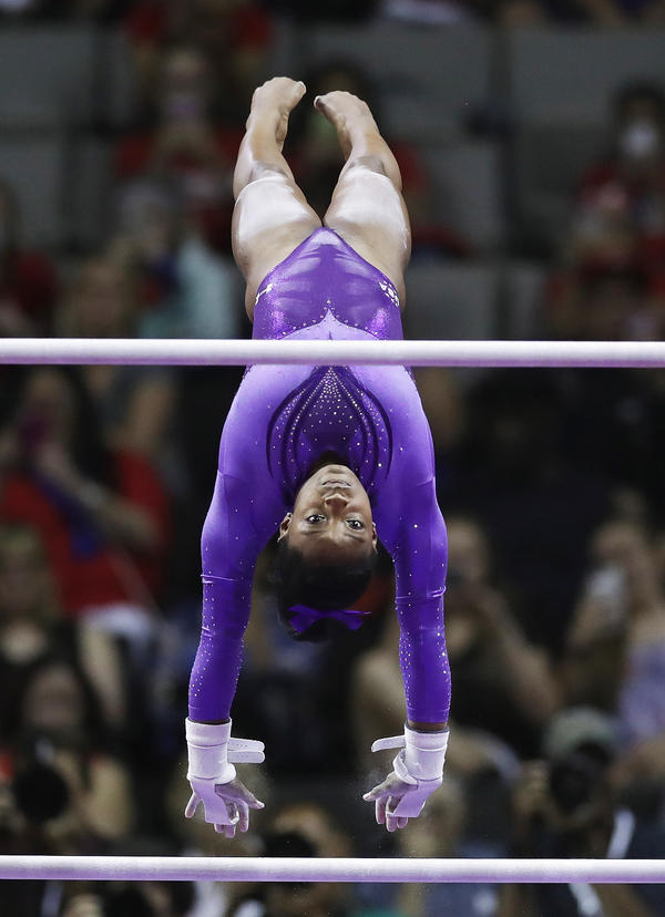 Simone Biles competes on the uneven bars during the U.S. Olympic Women's Gymnastics Team Trials in July in San Jose, Calif.