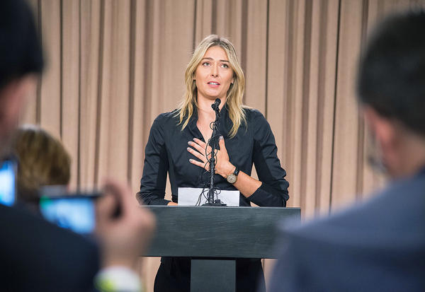 Russian tennis star Maria Sharapova won't be competing at the 2016 Olympics. At a March 7 press conference in Los Angeles she told reporters she'd tested positive for meldonium, a prescription heart drug that improves blood flow. It was banned in January by the World Anti-Doping Agency.