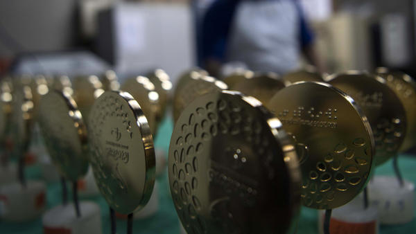 Gold medals for the Rio Olympic Games are displayed at a coin factory in Rio de Janeiro, Brazil, on July 18, 2016.