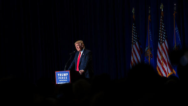 Republican presidential candidate Donald Trump speaks at a rally on August 5 in Green Bay, Wisconsin.