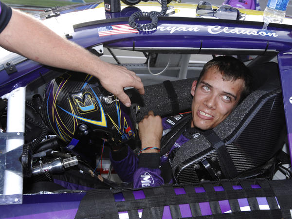Bryan Clauson smiles during qualifying for the ARCA RE/MAX Series 250 race at Talladega Superspeedway in Talladega, Ala., in 2007.
