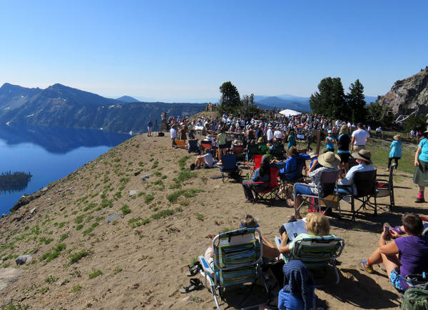 The world premiere of ''Natural History,'' a symphony commissioned in honor of the National Park Service centennial, took place at the rim of Crater Lake on Friday.