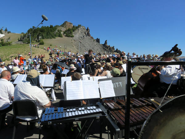 To play Michael Gordon's composition, the 40-member Britt Orchestra was joined by a large chorus, a tribal drumming circle from the Klamath Tribes and an extra brass and percussion section from Southern Oregon University. Teddy Abrams conducted.