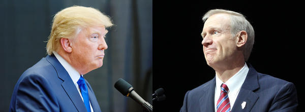 Donald Trump, left, has emphasized law and order in his campaign for the presidency. Illinois Gov. Bruce Rauner, right, wants to reduce the state's prison population by 25 percent over the next decade. Both men are Republicans.