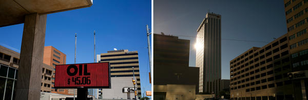(Left) An electronic sign in downtown Midland displays several messages, including the the price of oil that day. (Right) The sun catches on the side of a building downtown.