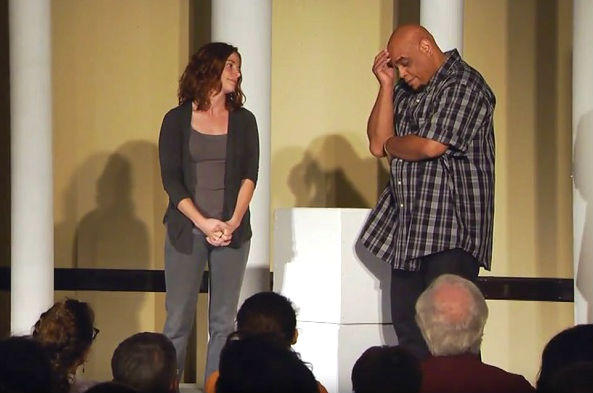 Actors who are also in recovery from addiction perform a play at the University of Indianapolis.