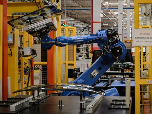 A robot arm at a Nissan assembly plant in Brazil.