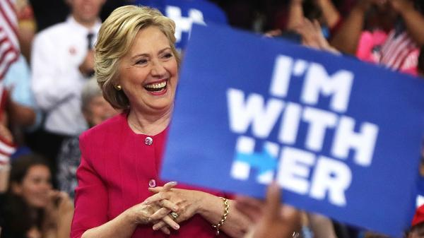Democratic presidential candidate Hillary Clinton holds a rally in Philadelphia on July 29.
