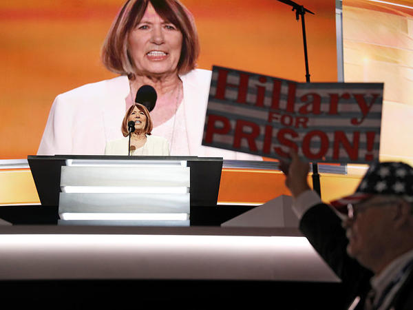 Pat Smith, the mother of an American killed in the 2012 attack on the U.S. Consulate in Benghazi, Libya, delivers a speech at the Republican National Convention July 18 in Cleveland.