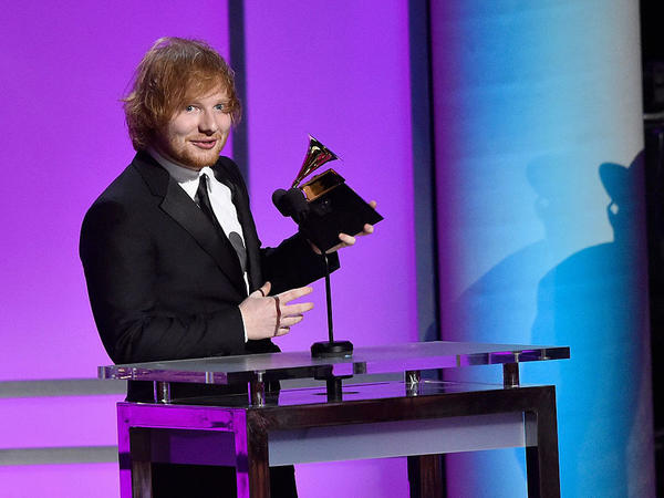 "Singer-songwriter Ed Sheeran accepting the Grammy for Best Pop Solo Performance for ""Thinking Out Loud"" in February 2016."