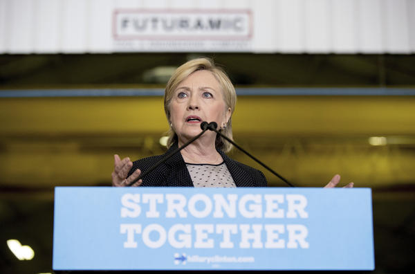 Democratic presidential candidate Hillary Clinton gives a speech today on the economy after touring Futuramic Tool & Engineering, in Warren, Mich.