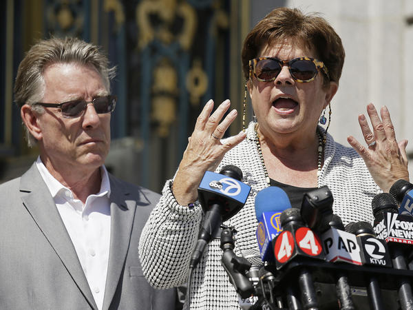 Liz Sullivan and Jim Steinle, the parents of Kate Steinle, at a news conference last year in San Francisco. Steinle was fatally shot in July 2015 by a man being sought for deportation. His trial has been delayed until next year.